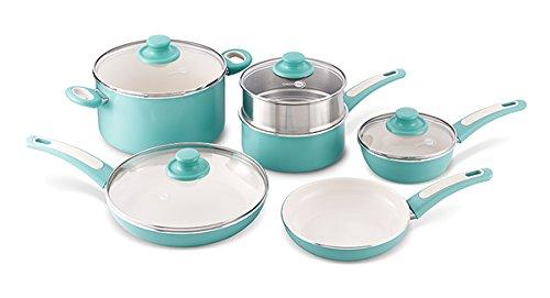 Greenpan Focus 10 Piece Aluminum Non-stick Ceramic Cookware Set, Turquoise