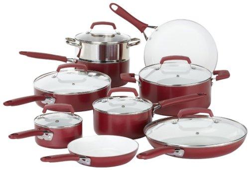 Wearever C943sf Pure Living Nonstick Ceramic Coating Ptfe / Pfoa Free Dishwasher Safe Cookware Set, 15-piece,