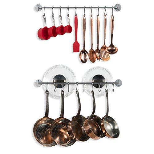WALLNITURE Kitchen Pot Pan Lid Rack with Hanging Hooks Gourmet Steel Silver 24 Inch Set of 2