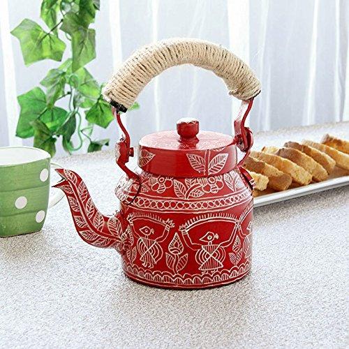 Indian Traditional Hand Painted Tea Kettle Tea Pot Steel Celebration