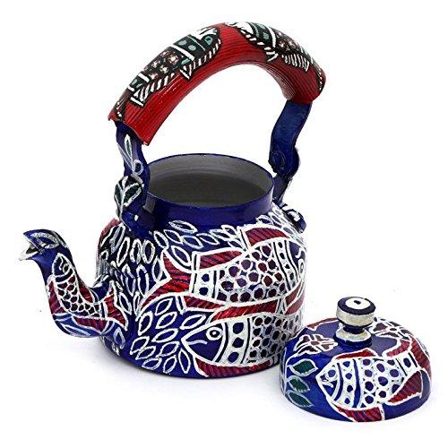 Indian Traditional Hand Painted Tea Kettle Tea Pot Steel Fish