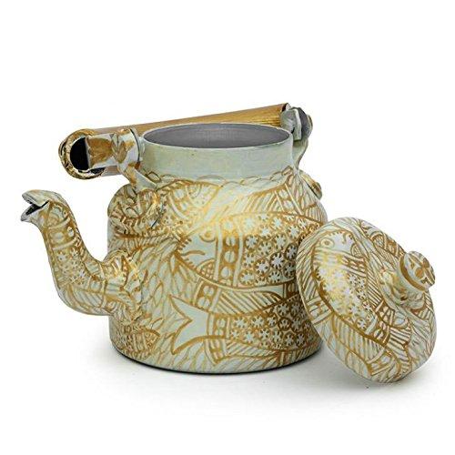 Indian Traditional Hand Painted Tea Kettle Tea Pot Steel Golden Pond