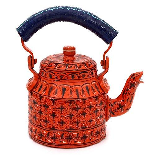 Indian Traditional Hand Painted Tea Kettle Tea Pot Steel Orange Delight