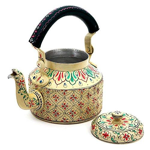 Indian Traditional Hand Painted Tea Kettle Tea coffee Pot Steel BigElegance