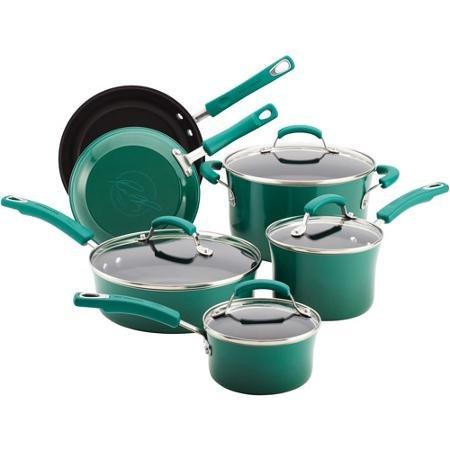NEW Rachael Ray 10-piece Porcelain Enamel Cookware Set Nonstick Pans Pots - Rachael Ray Hard-anodized 10 Piece Cookware Set Fennel