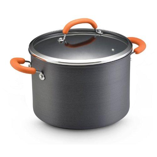 Rachael Ray Hard Anodized Nonstick 10-Quart Covered Stockpot Orange