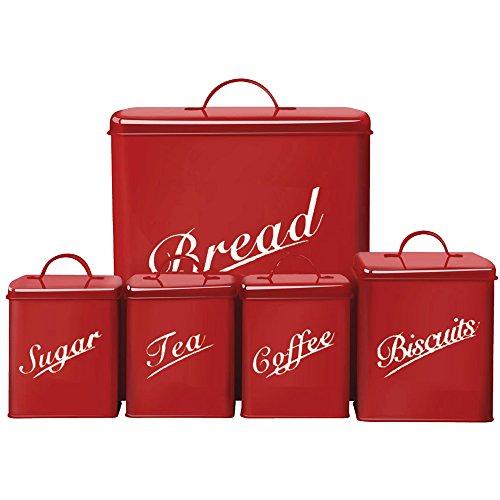Chef Vida BiscuitsTeaCoffeeSugarBread Bin Kitchen Storage Canister Set Metal Red 5-Piece by Chef Vida