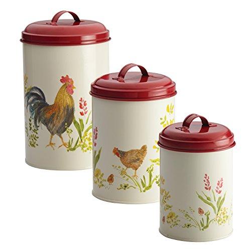 Paula Deen Pantryware Food Storage Canister Set 3-Piece Garden Rooster