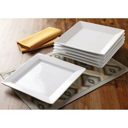 Better Homes and Gardens Set of 6 White Square Porcelain Dinner Plates