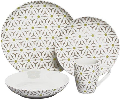 Melange Coupe 16-Piece Porcelain Dinnerware Set Romance  Service for 4  Microwave Dishwasher Oven Safe  Dinner Plate Salad Plate Soup Bowl Mug 4 Each