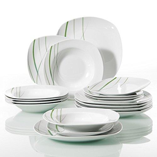 VEWEET AVIVA 18-Piece Ivory White Porcelain Green Line Patterns Dinnerware Sets of 75 Dessert Plate 85 Soup Plate 975 Dinner Plate Service for 6