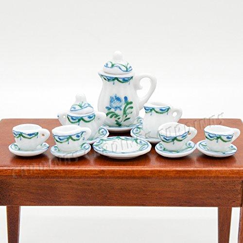 Odoria 112 Miniature 15PCS Porcelain Tea Cup Set Green Chintz Dollhouse Kitchen Accessories