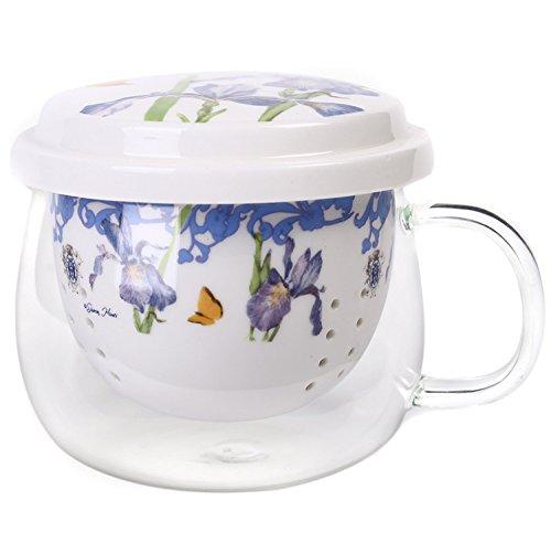 Porcelain Tea Cup Set Ceramic Travel Mug Brewing System with Infuser and Lid 10oz by CYPRESS Violet