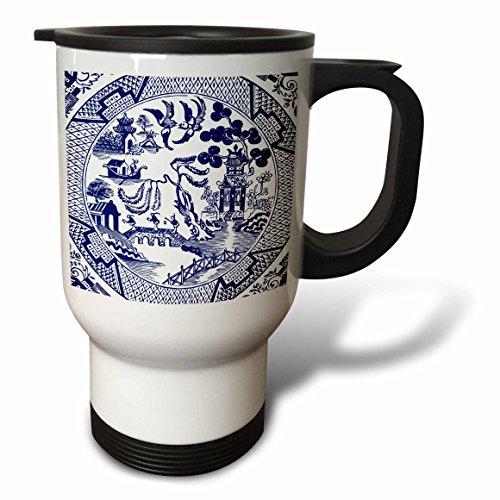 3dRose Russ Billington Designs - Willow Pattern Detail in Blue and White - 14oz Stainless Steel Travel Mug tm_262242_1
