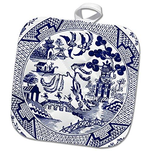 3dRose Russ Billington Designs - Willow Pattern Detail in Blue and White - 8x8 Potholder phl_262242_1