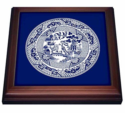 3dRose trv_220439_1 Willow Pattern in Delft Blue White Trivet with Ceramic Tile 8 x 8 Natural