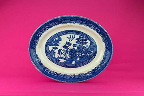 Large Pottery Platter Oval Traditional Blue And White Willow Pattern James Kent Vintage English 1920s Serving Dish