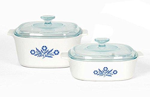Corningware Pyroceram Blue Cornflower 4 pc Glass Ceramic Cookware Set - Limited Edition