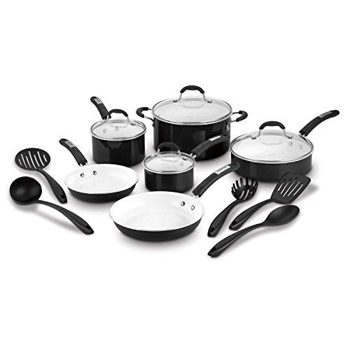 Cuisinart 15-Piece Ceramic Cookware Set Black