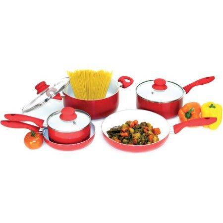 Heuck 8-Piece NANO Non-Stick Ceramic Cookware Set Red