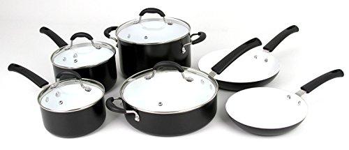 Oneida 10pc Aluminum PFOEPTFE Free Non-stick Ceramic Cookware Set Dishwasher Safe