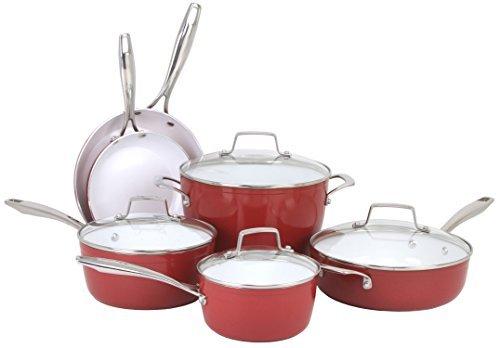 Oneida 10pc Forged Aluminum PFOEPTFE Free Non-stick Ceramic Induction Ready Cookware Set Dishwasher Safe