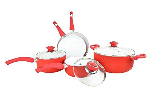 Soft Grip 8-Piece Eco Friendly Non-stick Ceramic Cookware Set Red