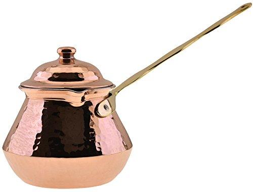 CopperBull THICKEST Solid Hammered Copper Turkish Greek Arabic Coffee Pot Stovetop Coffee Maker Cezve Ibrik BrikiLarge - 15 Oz - LIDDED