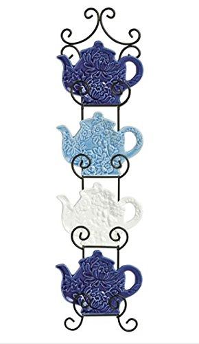 Blue White Teapot Shaped Tea Bag Holder Scroll Rack Kitchen Wall Decor