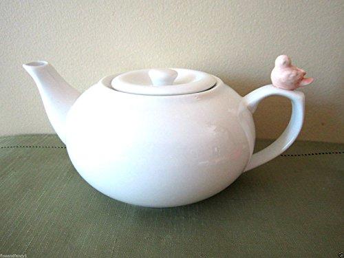 Cordon Bleu Ceramic White Teapot with Pink Bird