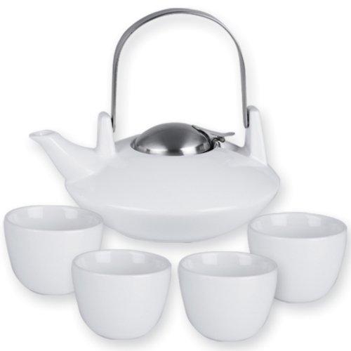 Saturn White Teapot 4 Tea Cups 6 Piece Set