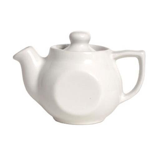 Tuxton BWT-100 10 Oz White Teapot With Lid - 12  CS