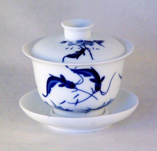 Twin Fish Design Chinese Gaiwan Traditional Chinese Teaware