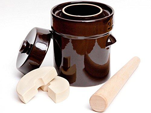 Kenley Fermentation Crock Jar 2 Liter - Stoneware Pot for Fermenting or Pickling Kimchi Sauerkraut Pickles Vegetables Kombucha - 05 Gallon Ceramic Fermenter with Weights Lid Pounder