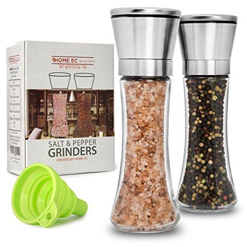 Premium Stainless Steel Salt and Pepper Grinder Set of 2 - Adjustable Ceramic Sea Salt Grinder Pepper Grinder - Tall Glass Salt and Pepper Shakers - Pepper Mill Salt Mill with Free Funnel EBook