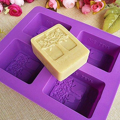 Kakasogo 2017 Newest 4 Cavity Flower Tree Rectangular Silicone Soap Cake Chocolate Mold Trays DIY Handmade Cupcake Baking Candle Craft Art Pans Flexible Sturdy Mould Tool SetRandom Color)