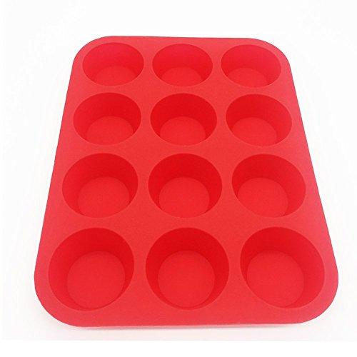 Anitiz Silicone Muffin Pan 12 Cup Non-Stick Cupcake Baking Pans – Safe Reusable BPA-Free Bakers Tray