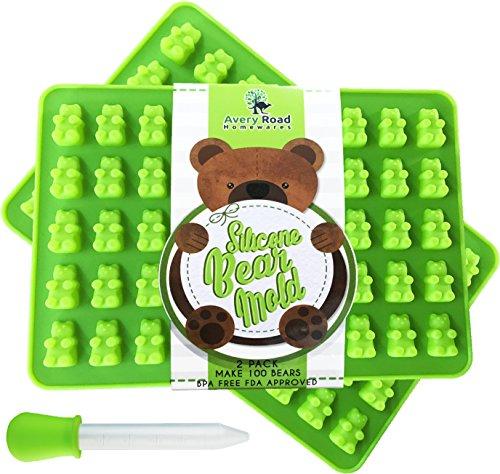 Premium Gummy Bear Mold - 2 PACK - BONUS DROPPER - 100 Bears on Trays  RECIPE PDF - Silicone Molds 100 Food Grade BPA Free FDA Approved Candy Chocolate Gelatin Maker