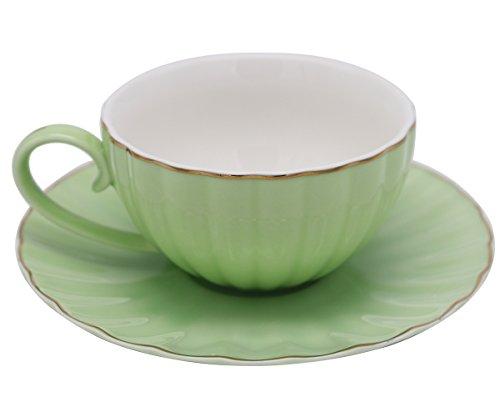 MUZITY Porcelain Coffee Cup and Saucer Tea Cup set 7 OZ GREEN