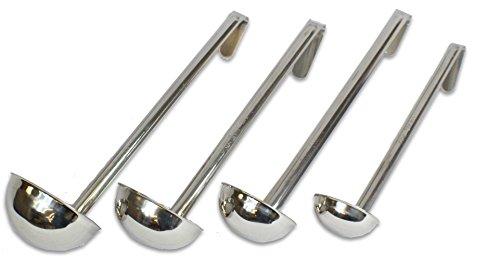 CucinaPrime Set of 4 Stainless Steel Soup Ladle 2oz 4oz 6oz 8oz