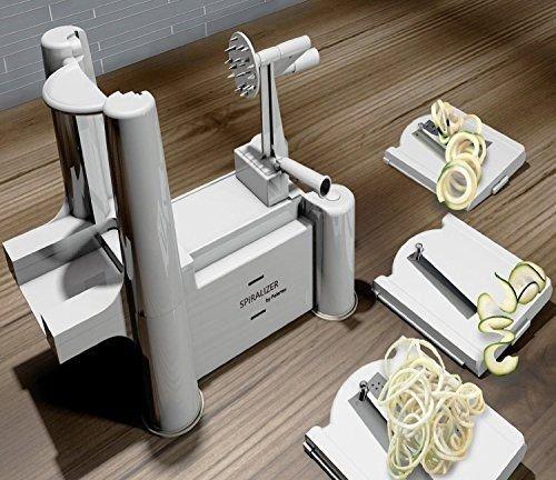 Spiralizer Best Vegetable Maker, Spiral Slicer, Peeler, And Shredder You'll Ever Use! Makes Zucchini Noodles,