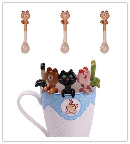 Being Spring 3PCS Coffee Spoon Ceramic Cute Cartoon Animal Dessert Spoon Drink Spoons Mixing Spoon Milkshake Spoon H01