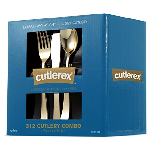 CUTLEREX 312-Piece Plastic Silverware Set Looks Like Gold Cutlery - Solid Durable Heavy-duty Value Pack Includes 104 Forks 104 Knives 104 Spoons