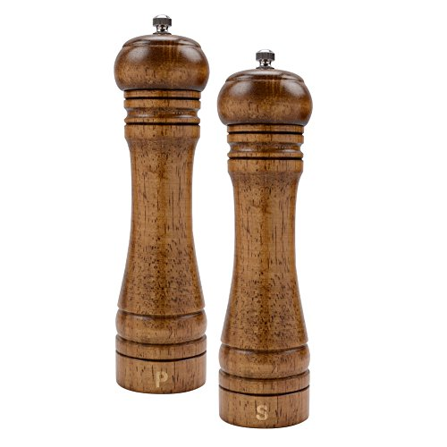 Haomacro Solid Wood Hand Operated Salt and Pepper Mill Pepper Grinder Shaker with Ceramic Core- 8 Imperial -Pack of 2
