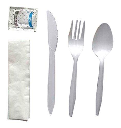 Dowell Medium Weight White Pp 6 Piece Kit Fork Knife Spoon Salt Pepper Napkin Case of 250