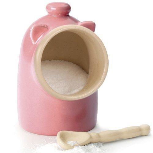 Pink stoneware Salt Pig and Spoon Salt Keeper