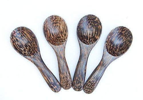 Wooden Small Spoons Salt Sugar Seasoning Spoon Utensils Flatware Hand Carved Palm Wood