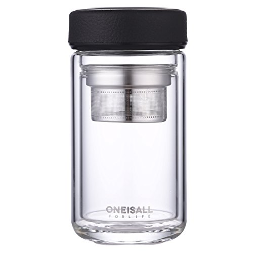 ONEISALL 320ml Glass Water bottle Tea Cup Double Wall Drinking Tea Tumbler with Infuser BPA Free Travel Coffee Mug QGYBL046 Black
