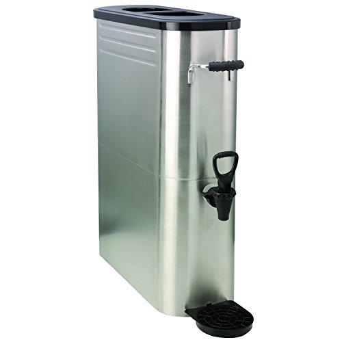 Service Ideas ITSLS5GPL Tea Dispenser Slim Stainless Steel 2 Spigot 5 gal Black