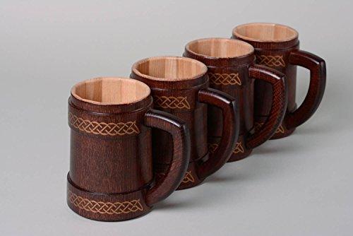 Handmade decorative varnished carved wooden beer mugs 4 items kitchen tools